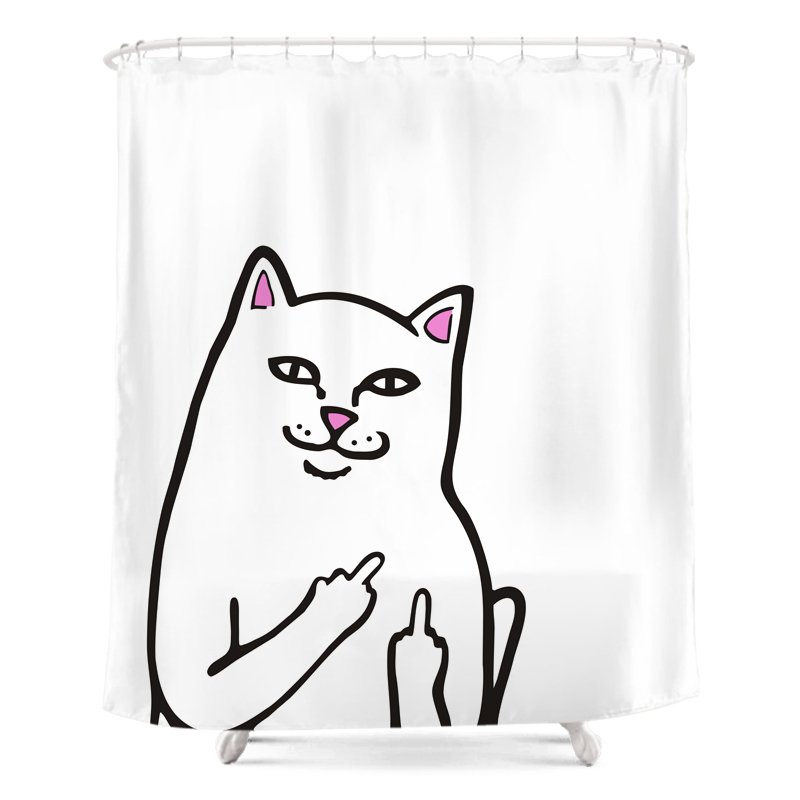 Middle Finger Cat Shower Curtain | COSA LOKA