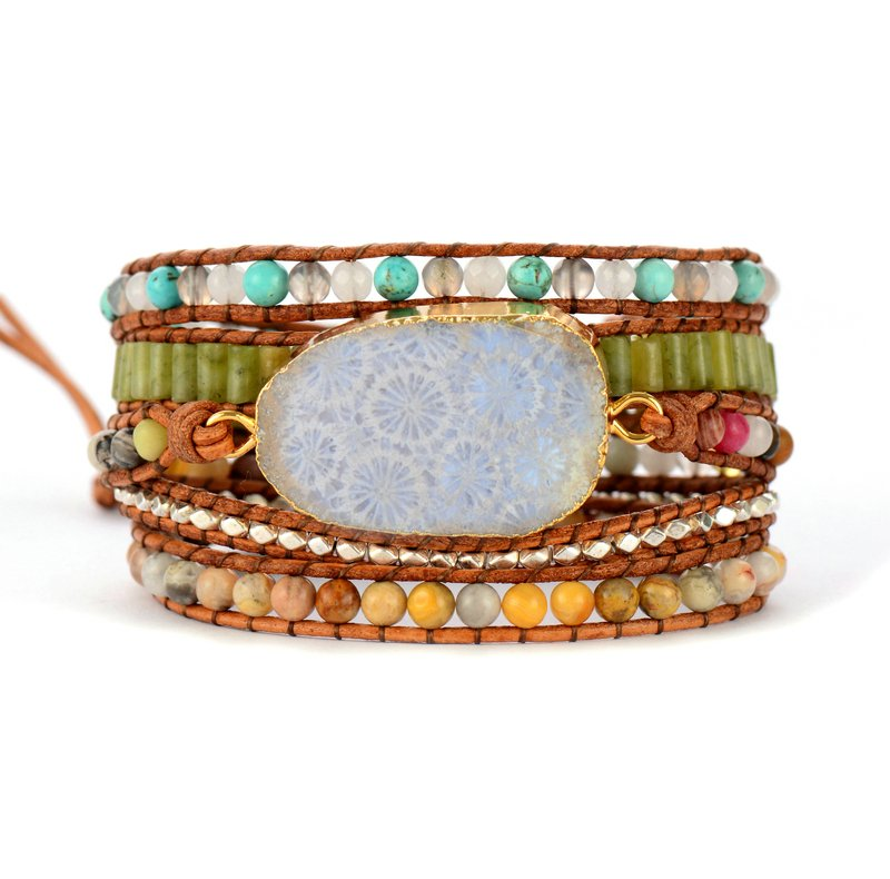 0846e60d4a0 Chrysanthemum Natural Stones & Agatized Fossil Stone Charm Bracelet | COSA  LOKA